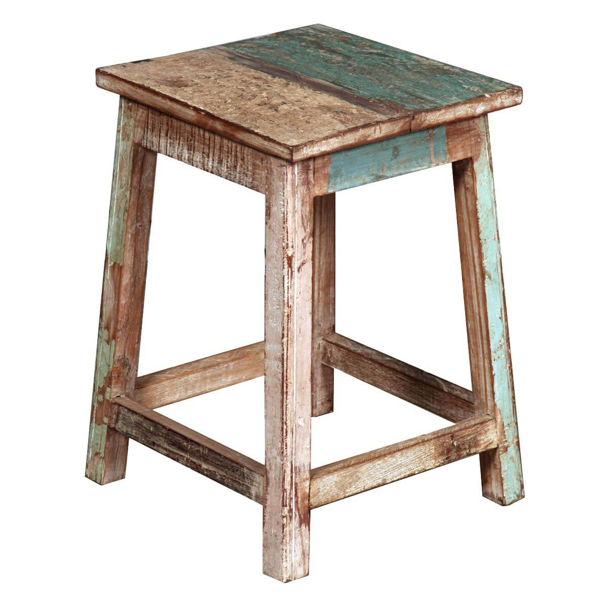 Appalachian rustic solid reclaimed wood square end table stool