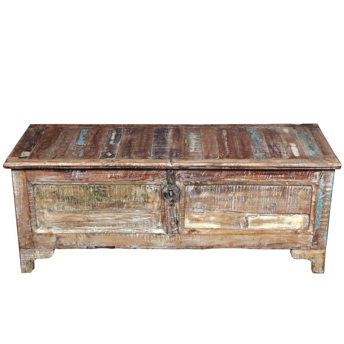 Rustic reclaimed wood storage coffee table chest Coffee table storage chest