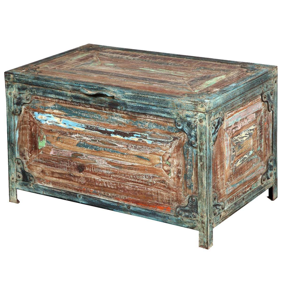 Rustic Reclaimed Wood Nottingham Small Coffee Table Storage Chest