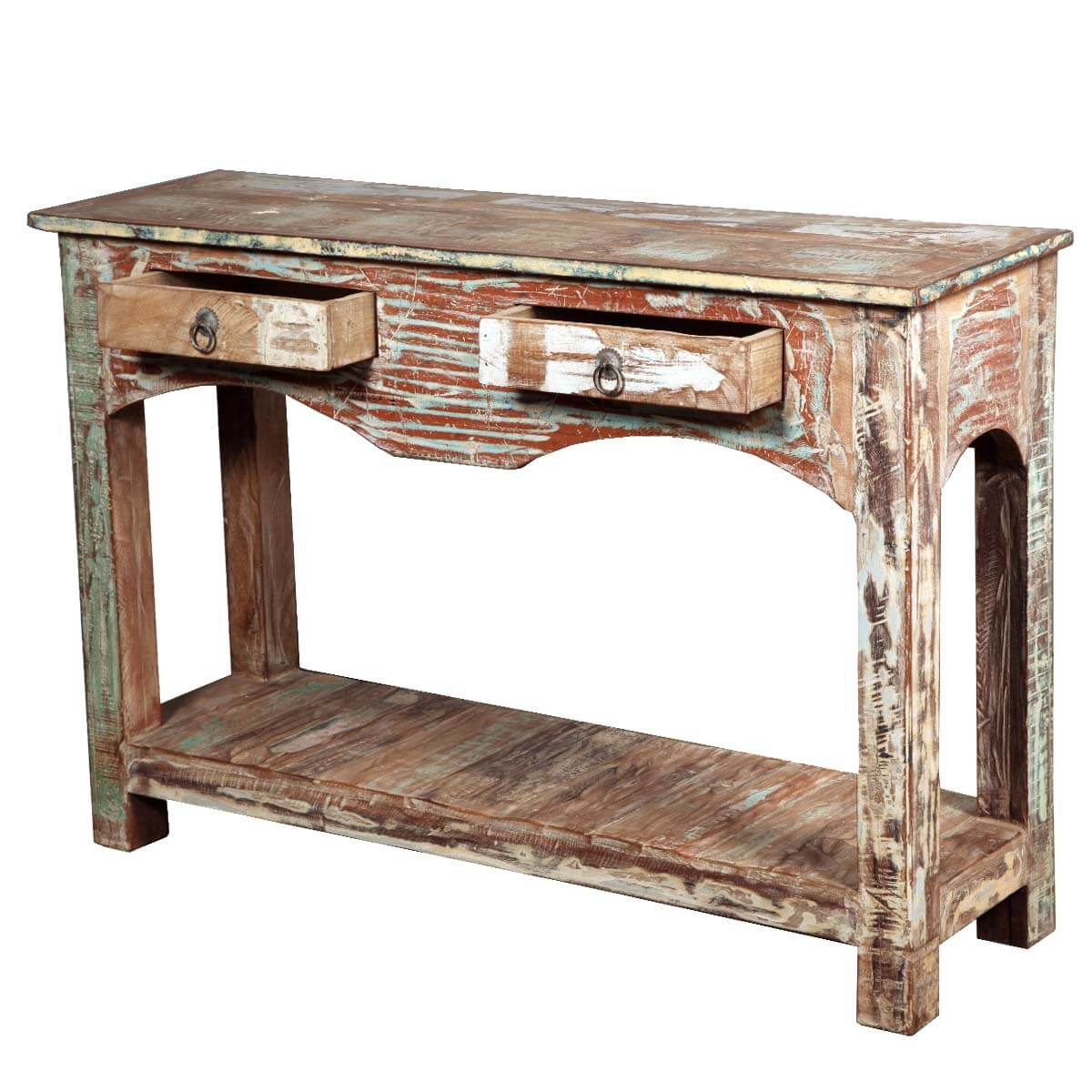 Distressed reclaimed wood drawer console hall table
