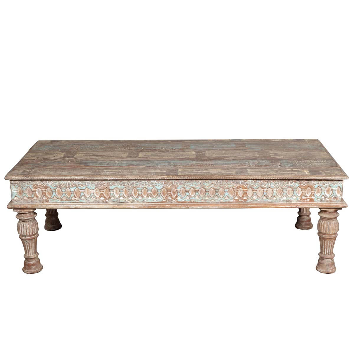 Classic Reclaimed Wood Large Coffee Table W Fluted Column Legs