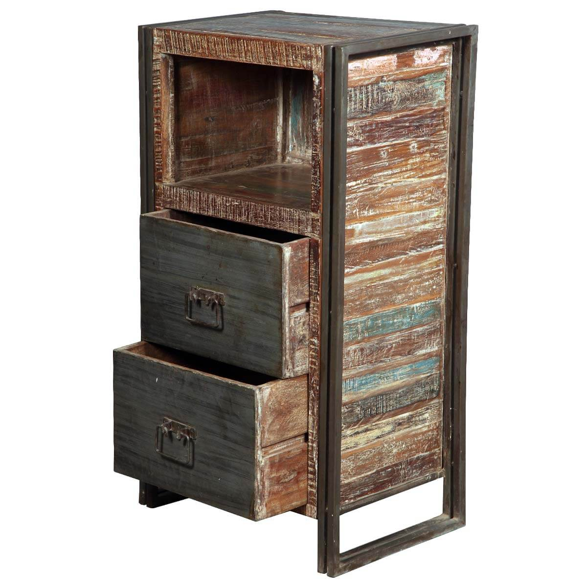 Vintage industrial reclaimed wood iron filing cabinet w for Wood cabinets