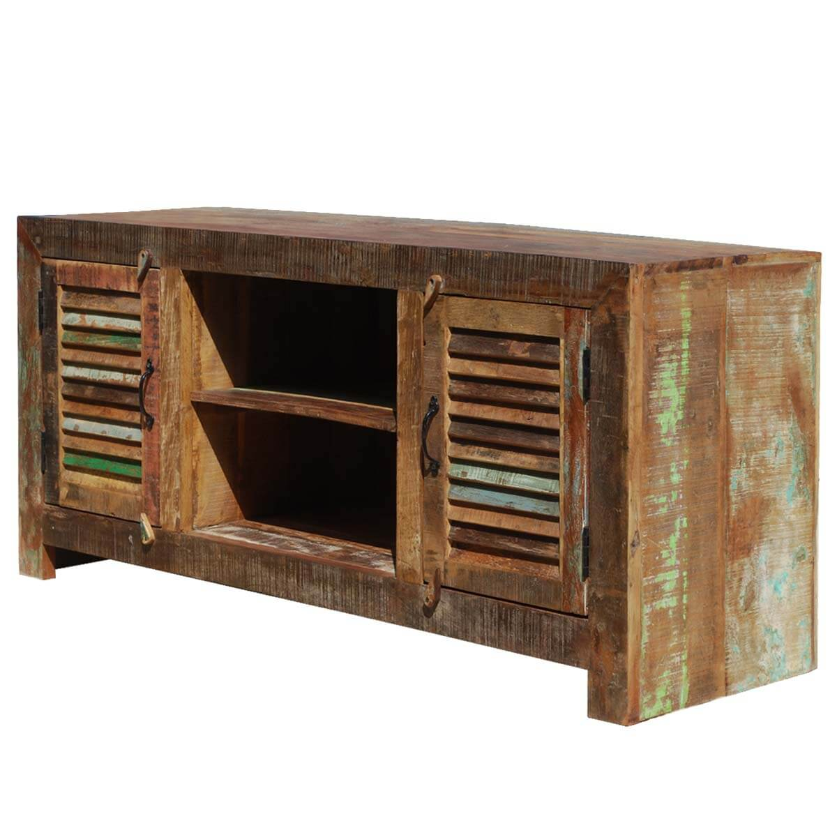 Primitive Hand Painted Patchwork Reclaimed Wood Media