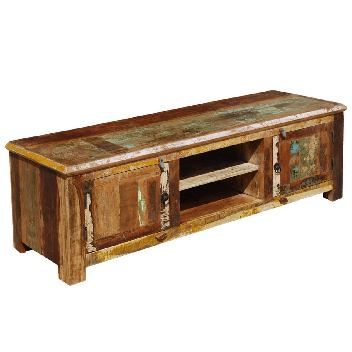 Reclaimed Wood Media Console Cabinet Rustic Distressed Storage
