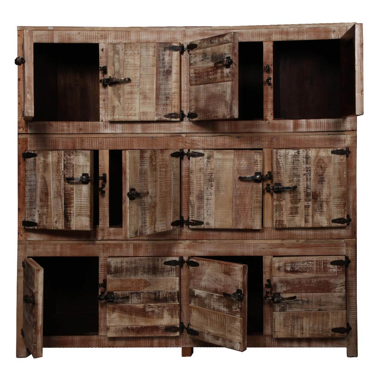Large rustic reclaimed wood storage box wall unit
