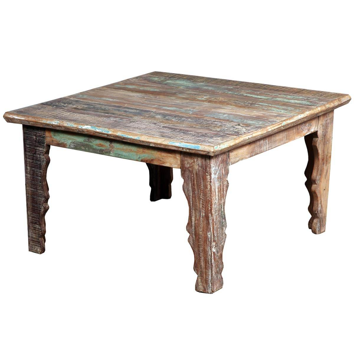Rustic Gothic Reclaimed Hardwood Square Coffee Table