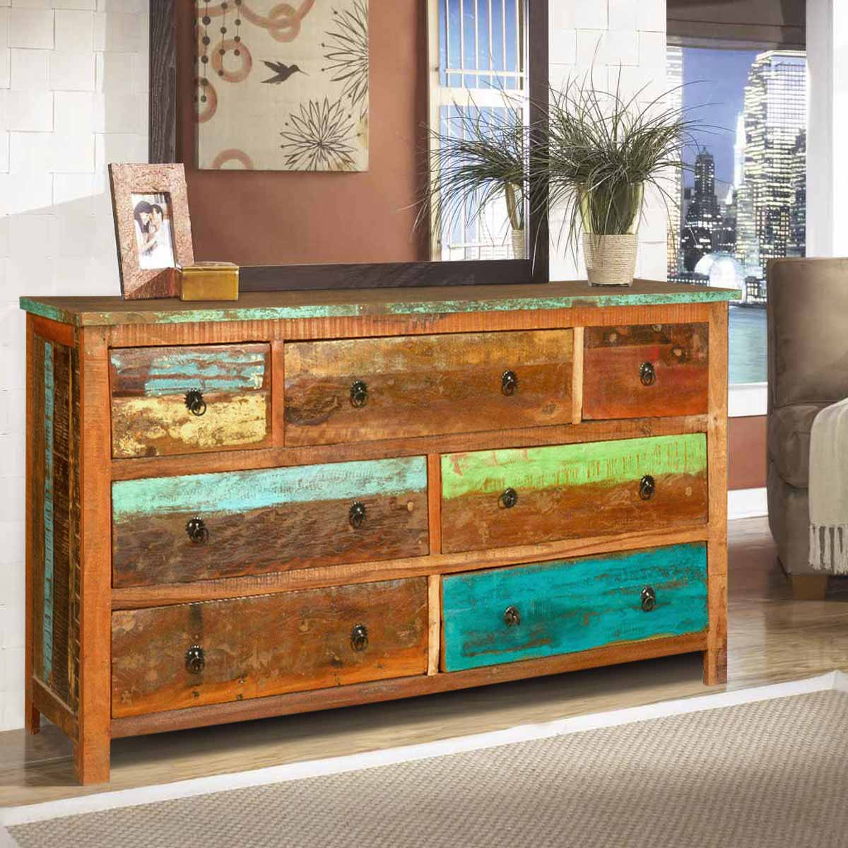 Sierra Rustic Reclaimed Wood 7 Drawer Dresser