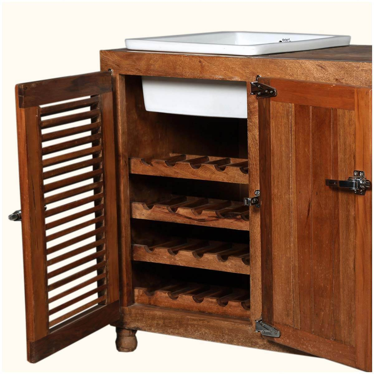 Mission Solid Wood & Ceramic Wine Rack Kitchen Sink Cabinet