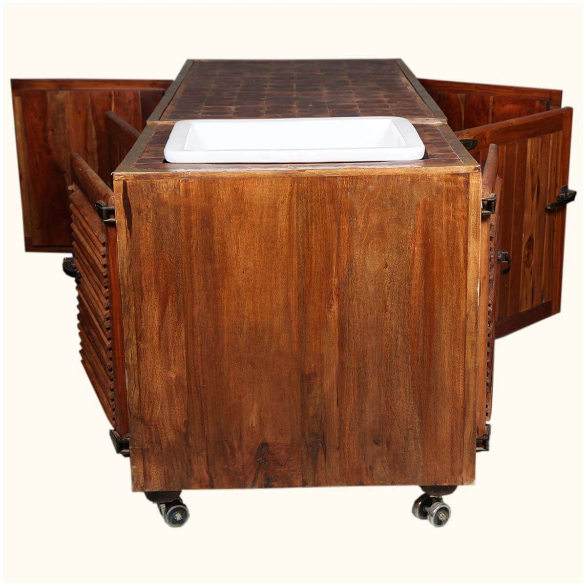 Moveable Solid Wood Ceramic Buffet Kitchen Sink Cabinet