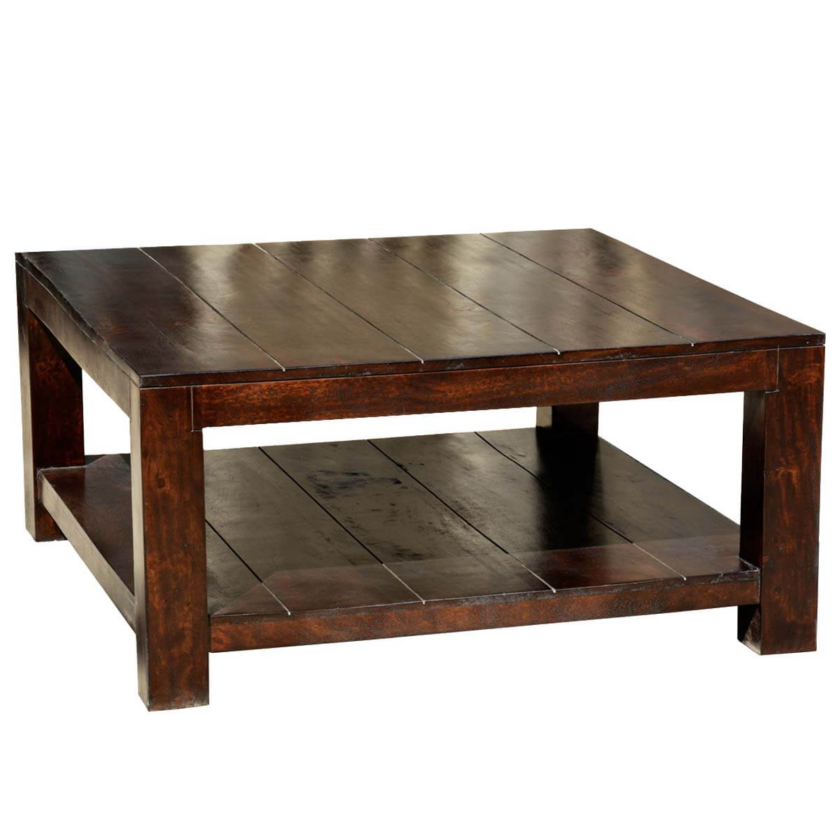 Mission mango wood square coffee table for Large wood coffee table square