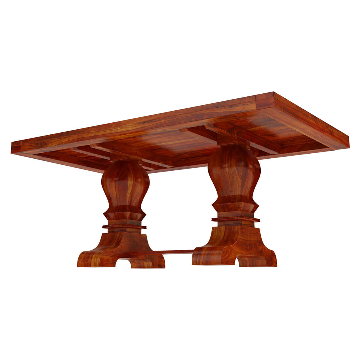 Solid Indian Hardwood Trestle Pedestal Dining Table
