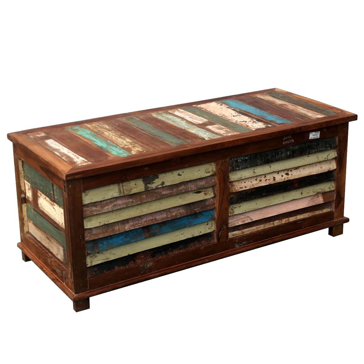 Rustic reclaimed wood multi color coffee table storage trunk chest Recycled wood coffee table