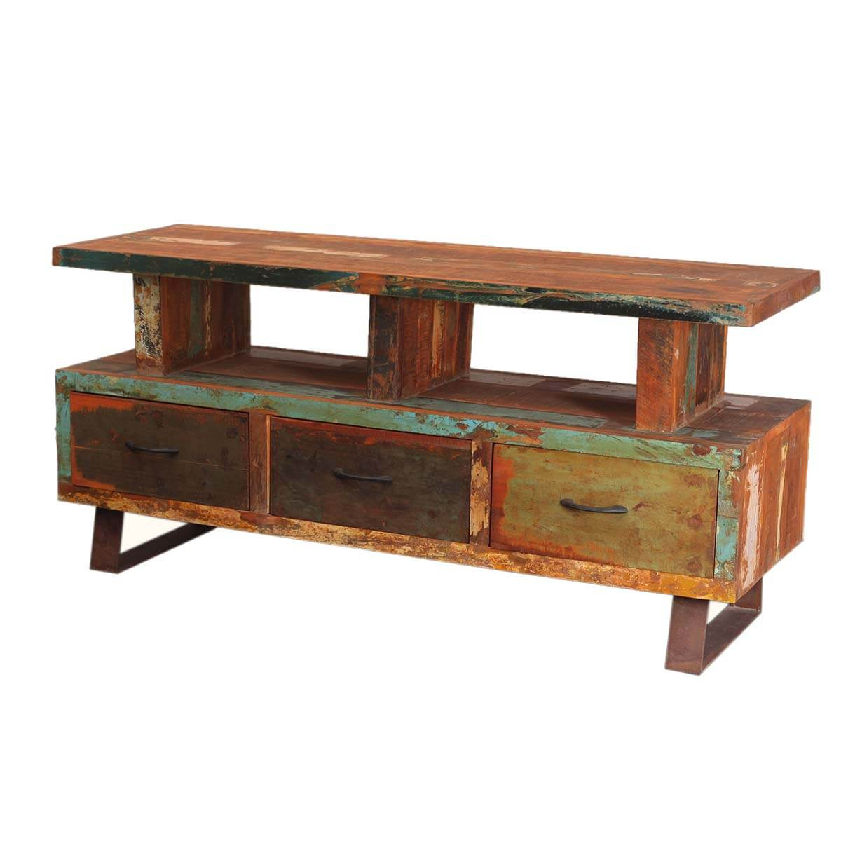 Industrial reclaimed wood iron media console tv stand