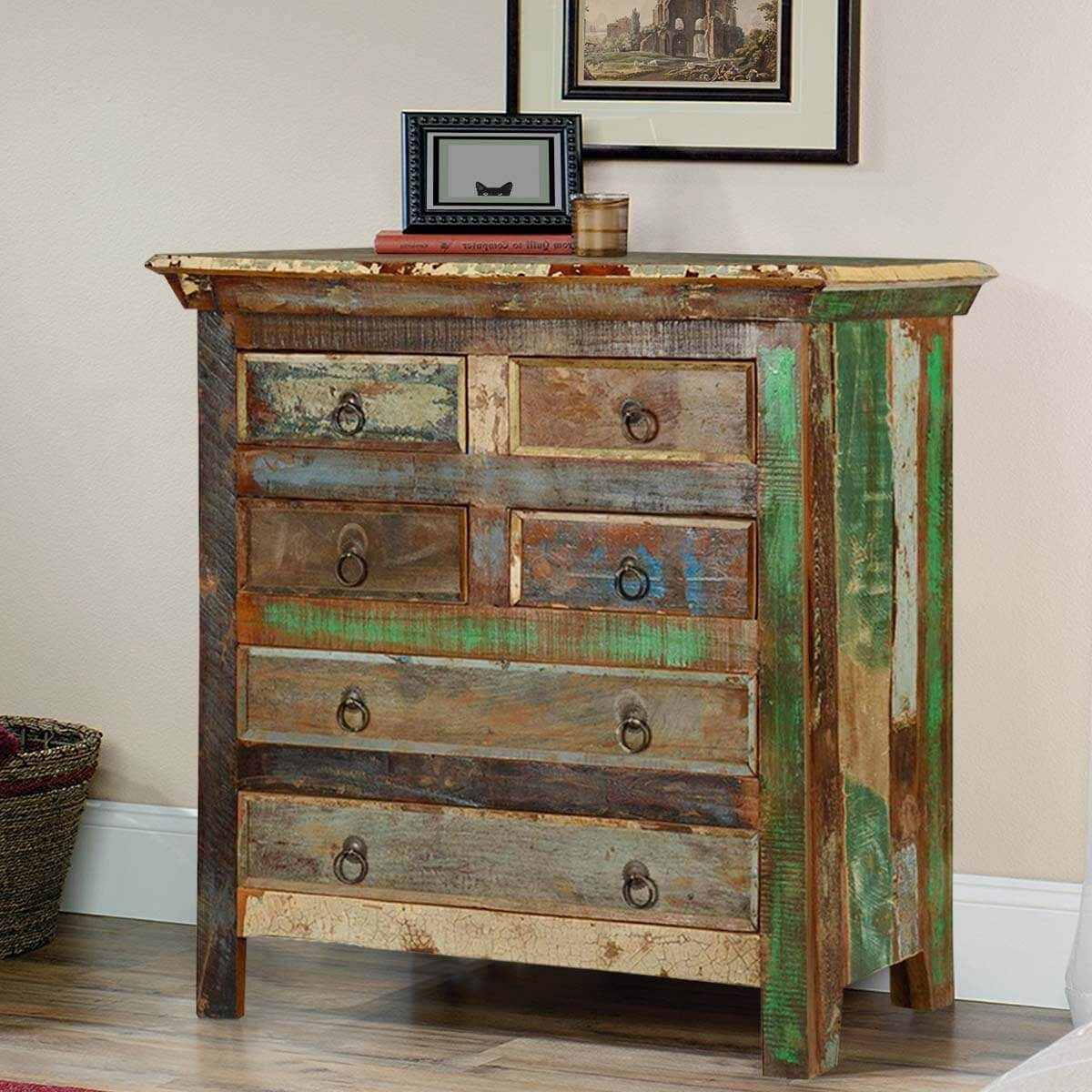 Norfolk rustic reclaimed wood 6 drawer standard vertical chest - Bedroom storage cabinets with drawers ...