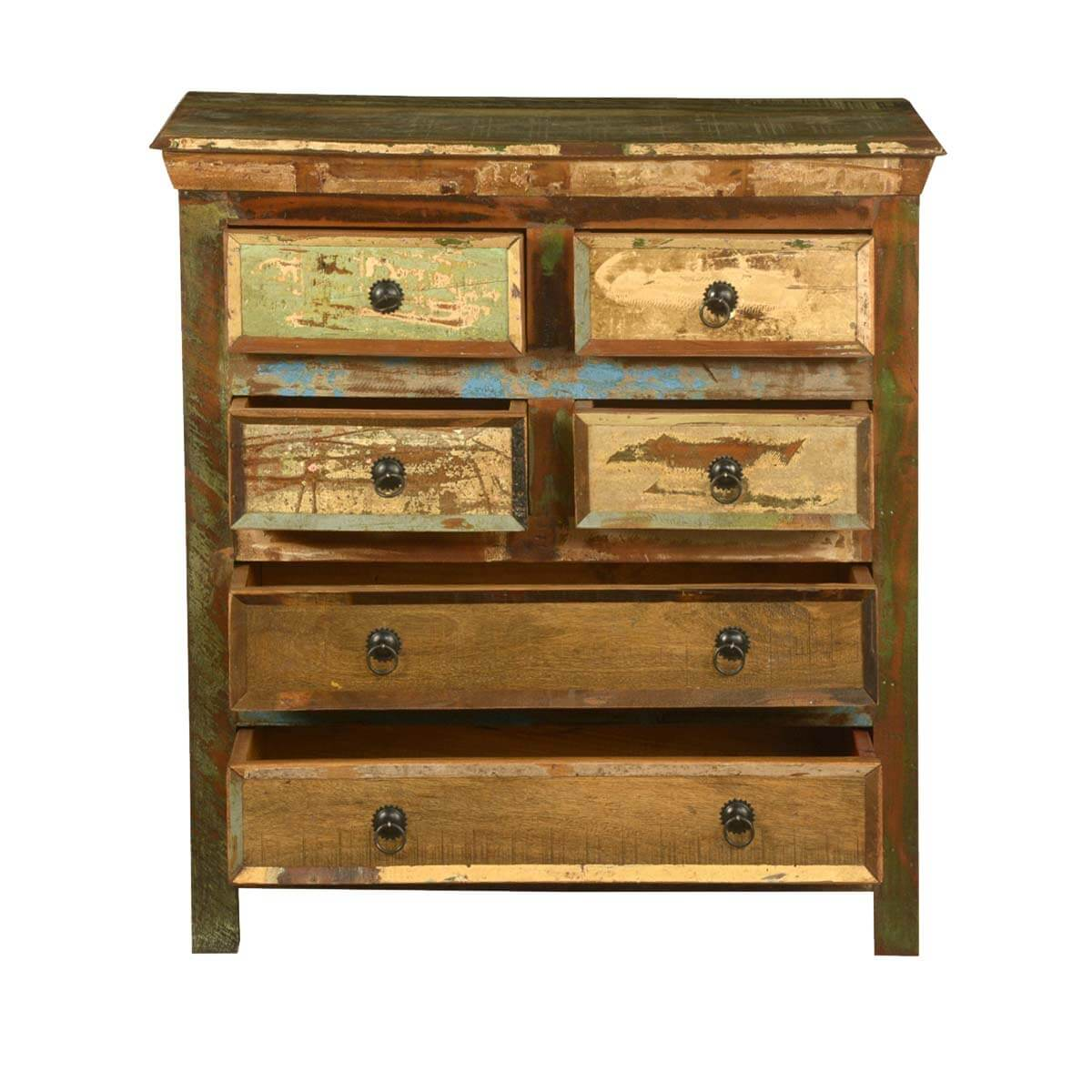 bed room reclaimed wood rustic 6 drawer bedroom dresser storage chest