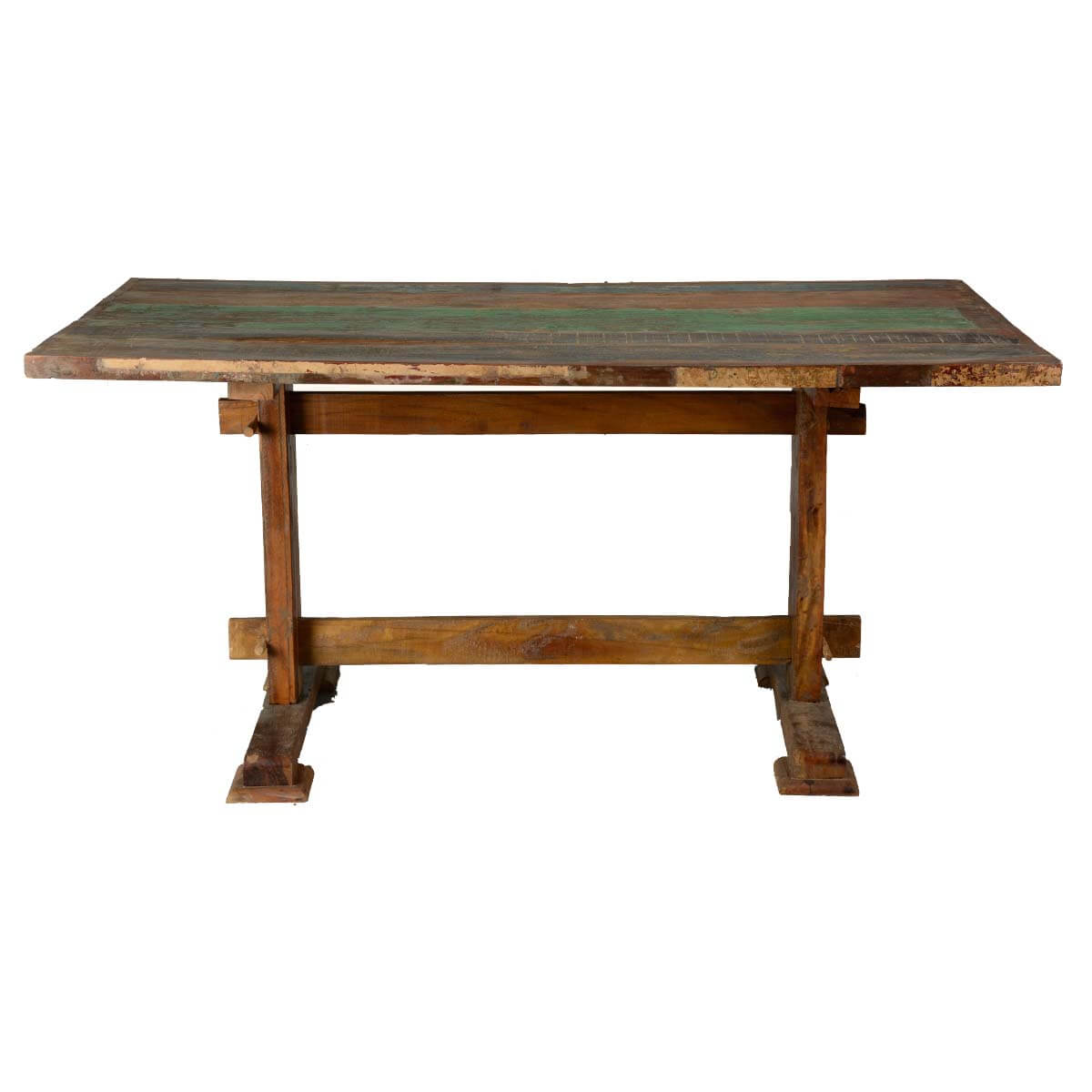 Reclaimed hardwood classic trestle pedestal dining table for Trestle dining table