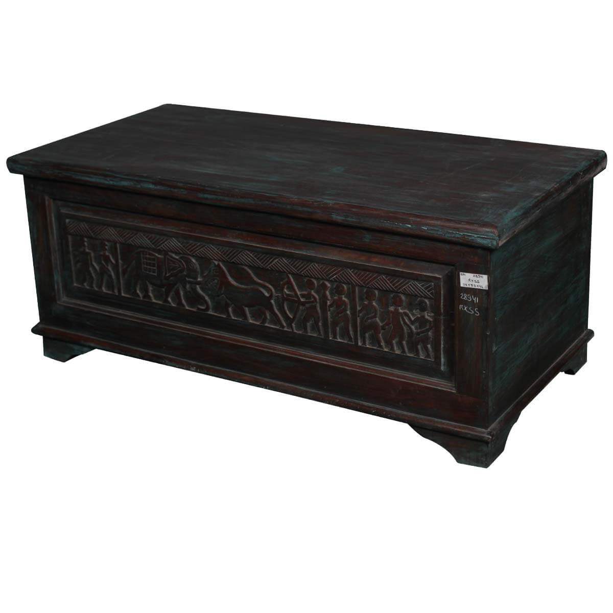 Rustic Mango Wood African Themed Exotic Coffee Table Storage Trunk