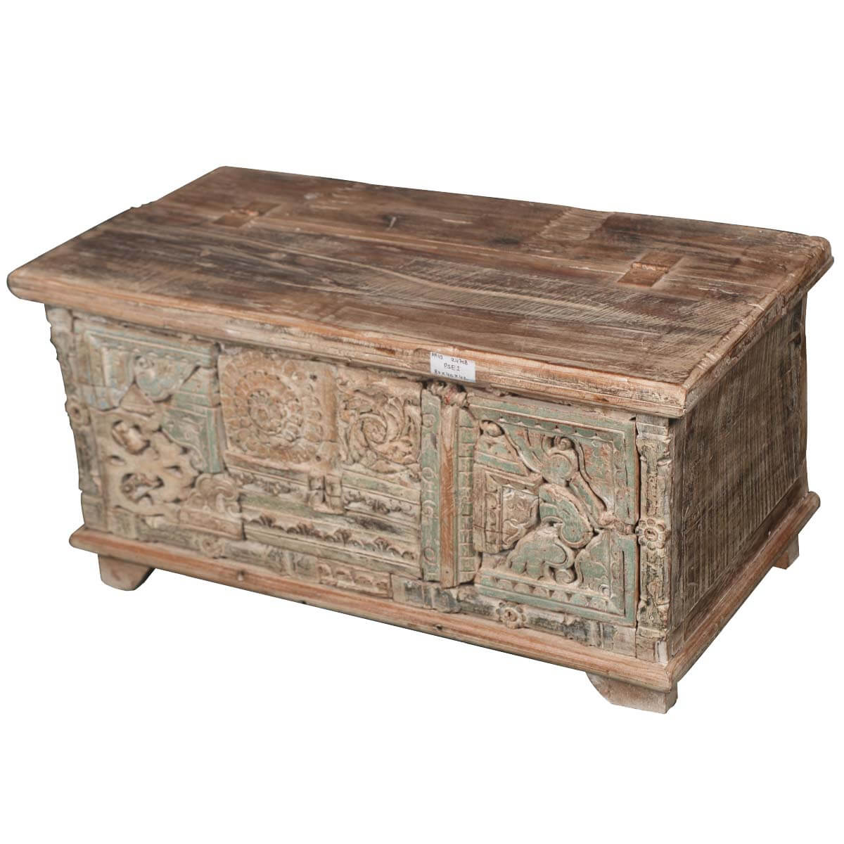 Wonderful image of Hand carved Rustic Blonde Reclaimed Wood Storage Chest with #B48317 color and 1200x1200 pixels
