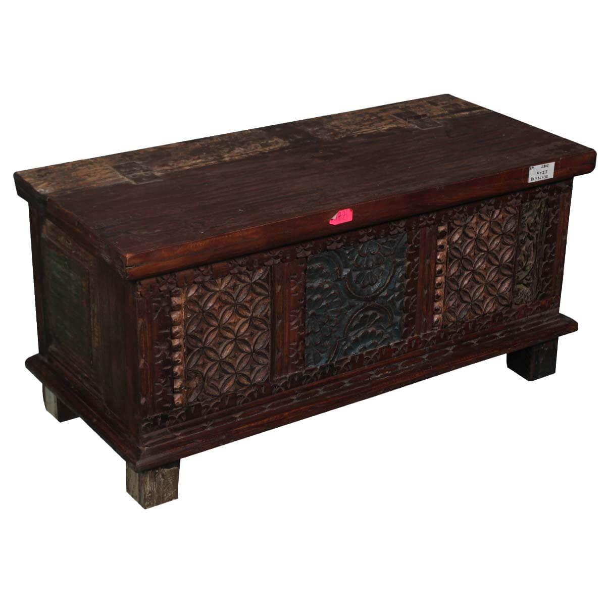 Hand carved rustic reclaimed wood storage chest trunk Coffee table chest with storage