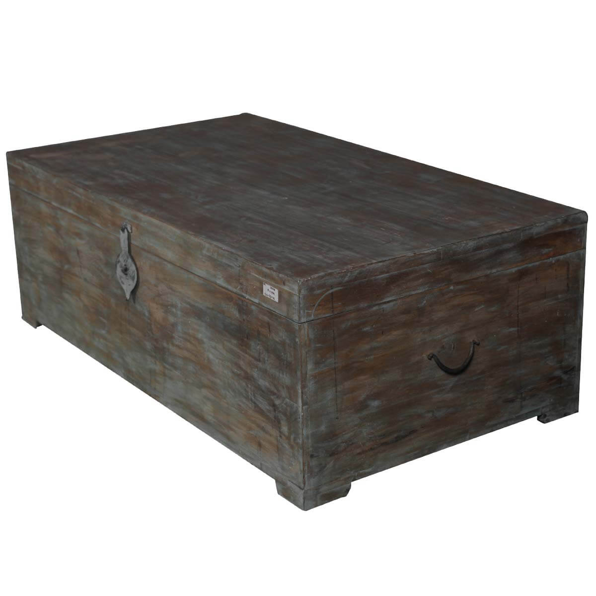 Large Distressed Wood Coffee Table: Rustic Mango Wood Distressed Coffee Table Storage Chest
