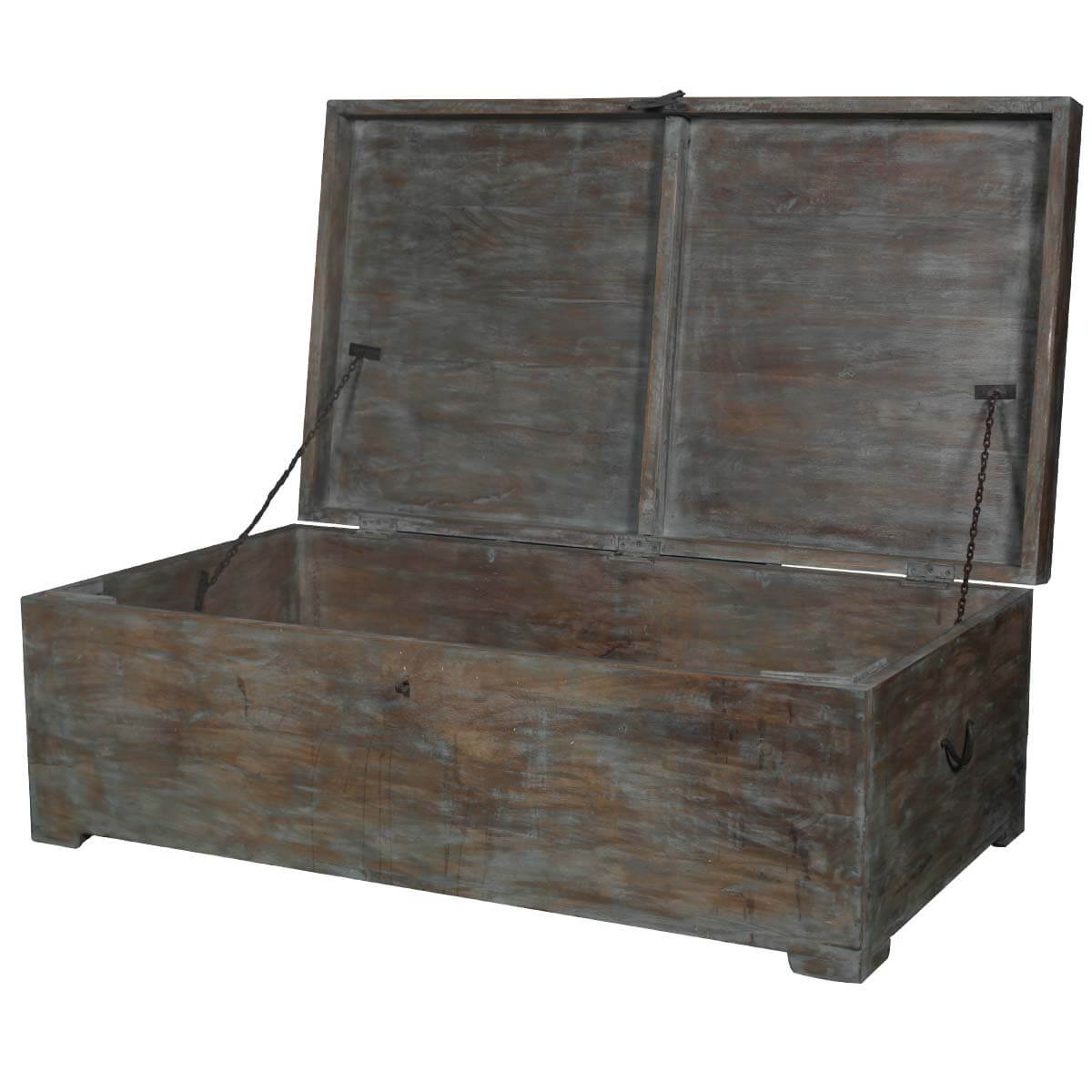 Rustic mango wood distressed coffee table storage chest Coffee table chest with storage