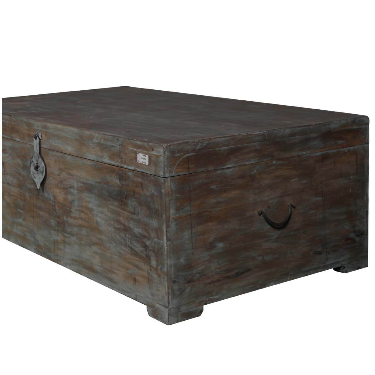 Rustic Mango Wood Distressed Coffee Table Storage Chest
