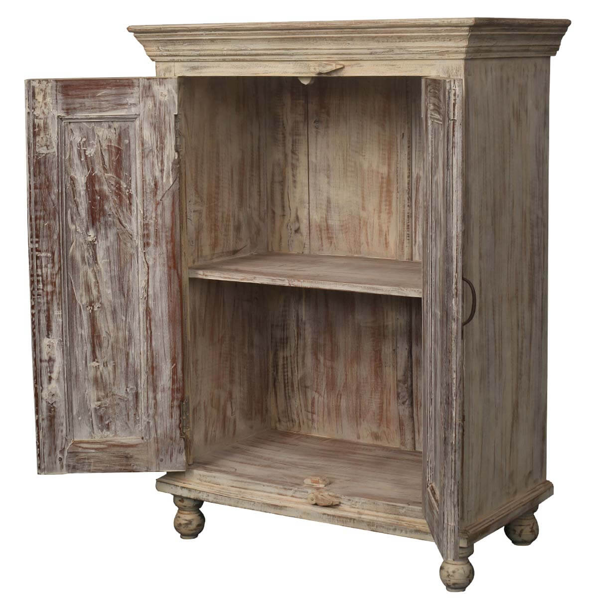 Marvelous photograph of Dusty White Rustic Reclaimed Wood 2 Shelf Buffet Storage Cabinet with #B48317 color and 1200x1200 pixels