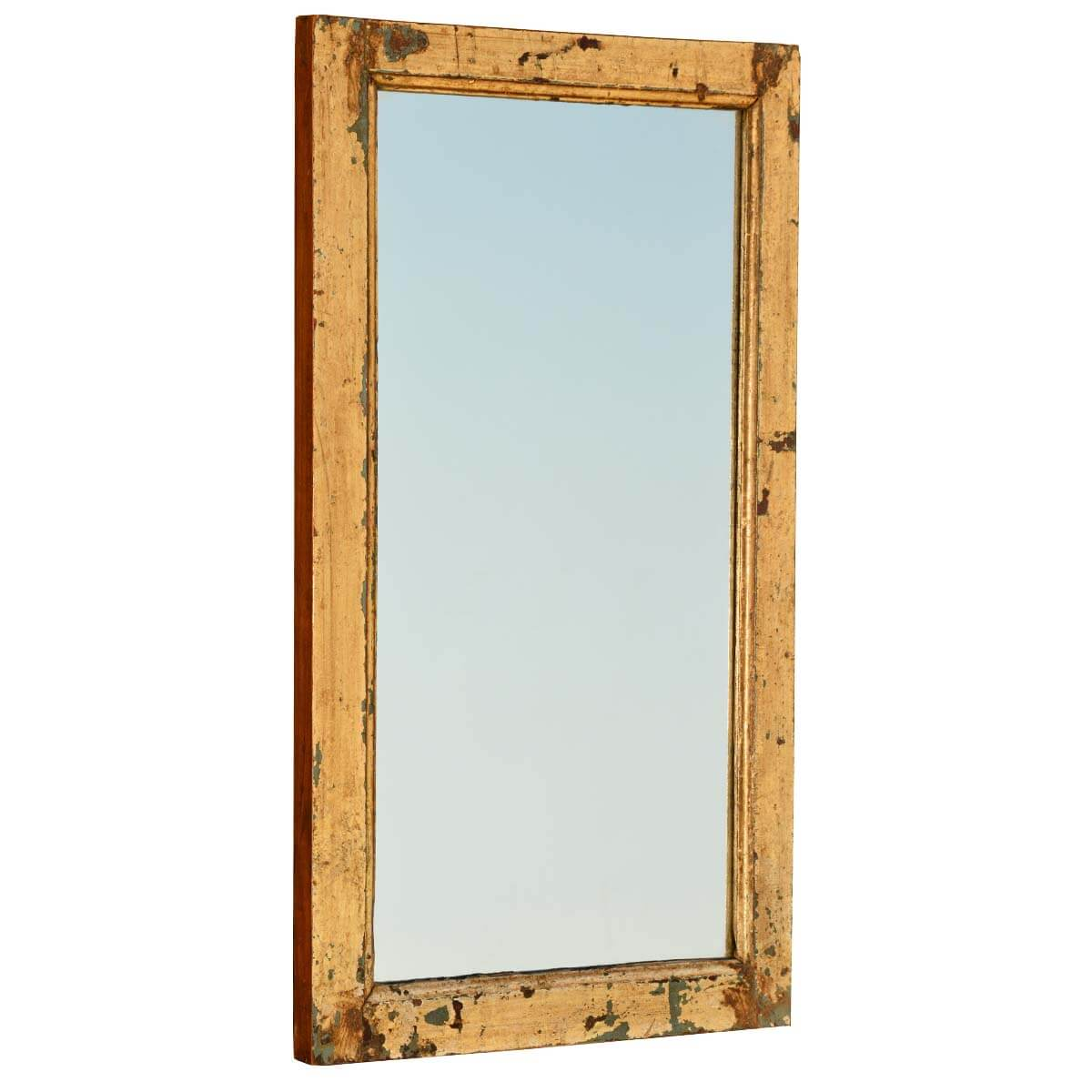 Rustic reclaimed wood distressed rectangular framed mirror for Rustic mirror