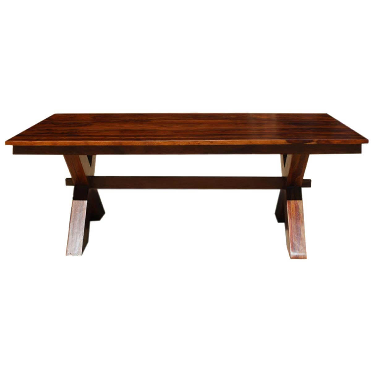 Rustic Solid Wood McKay X Pedestal Extension End Cap Dining Table