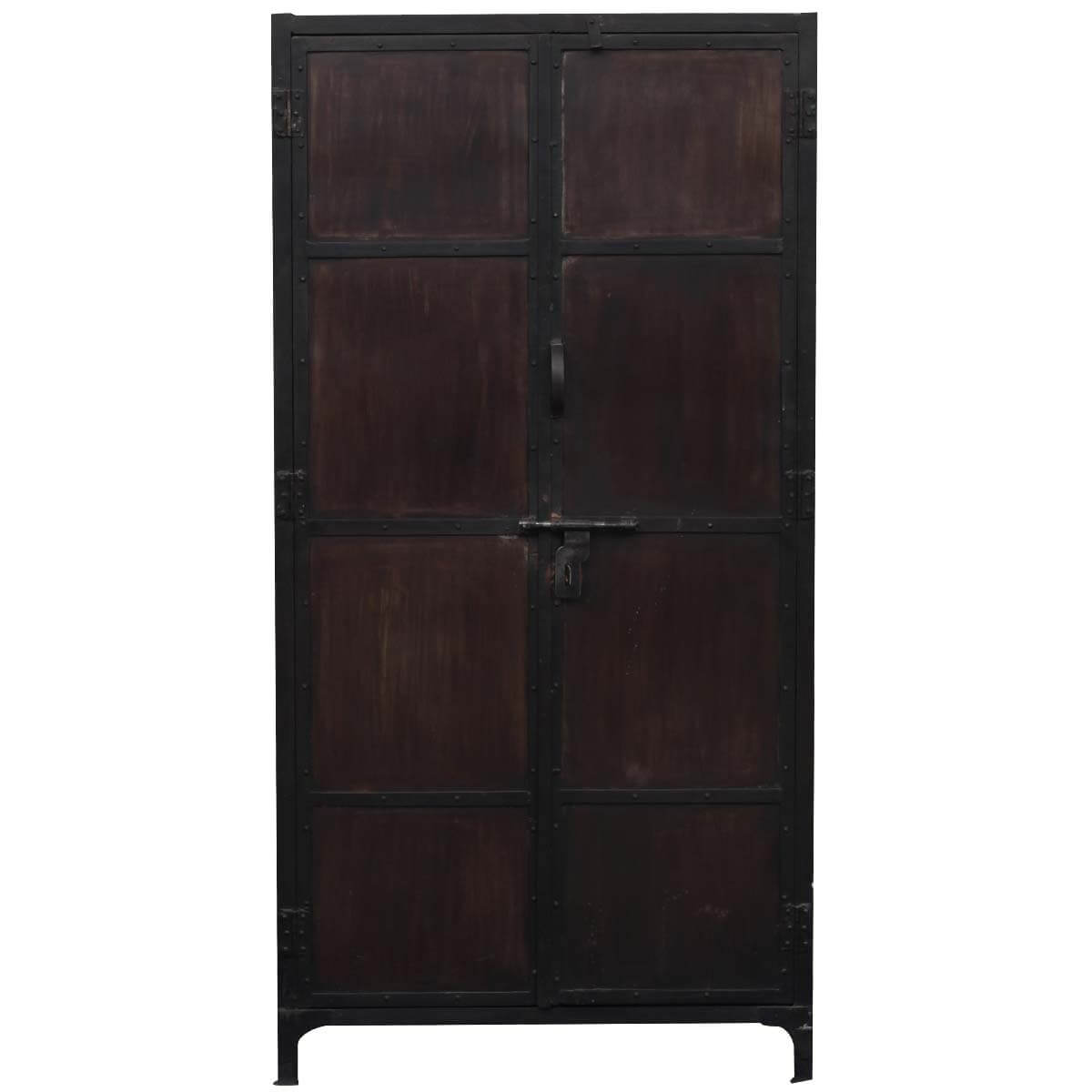 Large Industrial Black amp Brown Iron Armoire Storage Cabinet