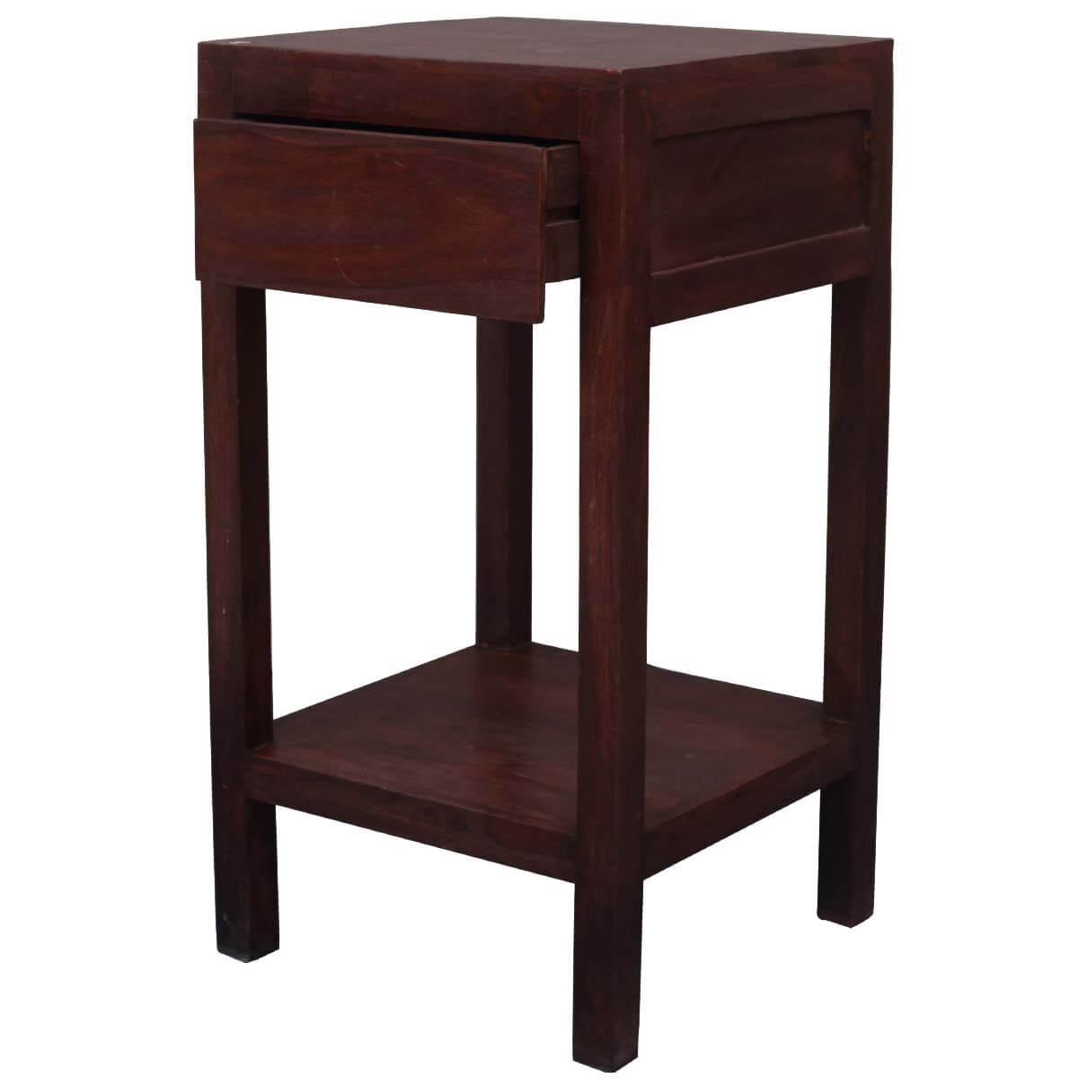 Zairo contemporary solid wood 3 tier 1 drawer end table for 1 drawer table