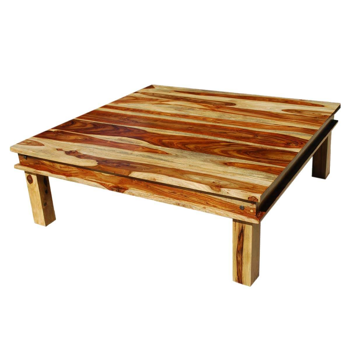 Large square wood rustic coffee table for Oversized coffee tables