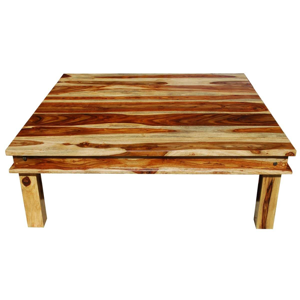 Large square wood rustic coffee table for Rustic coffee table