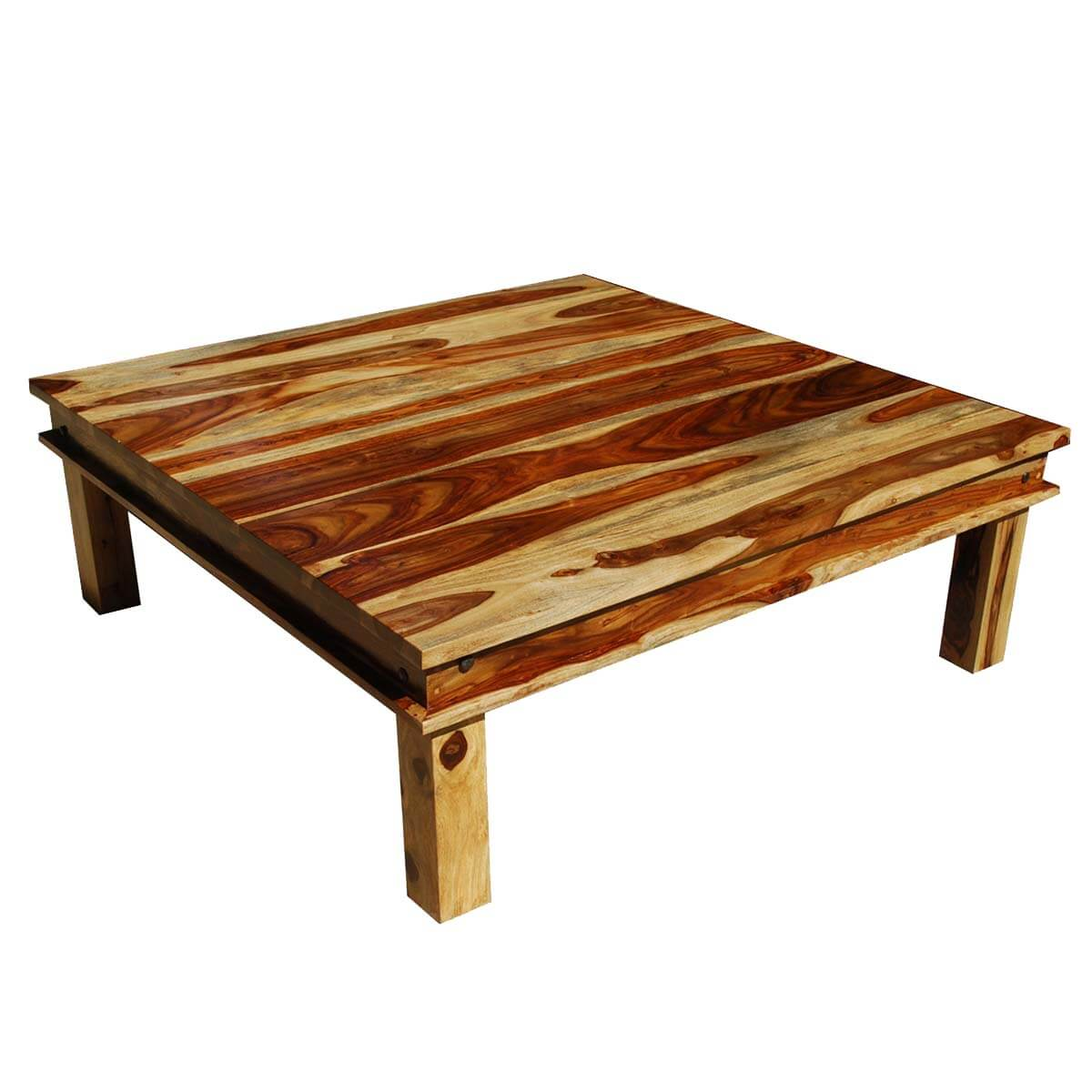 Large square wood rustic coffee table Large square coffee table