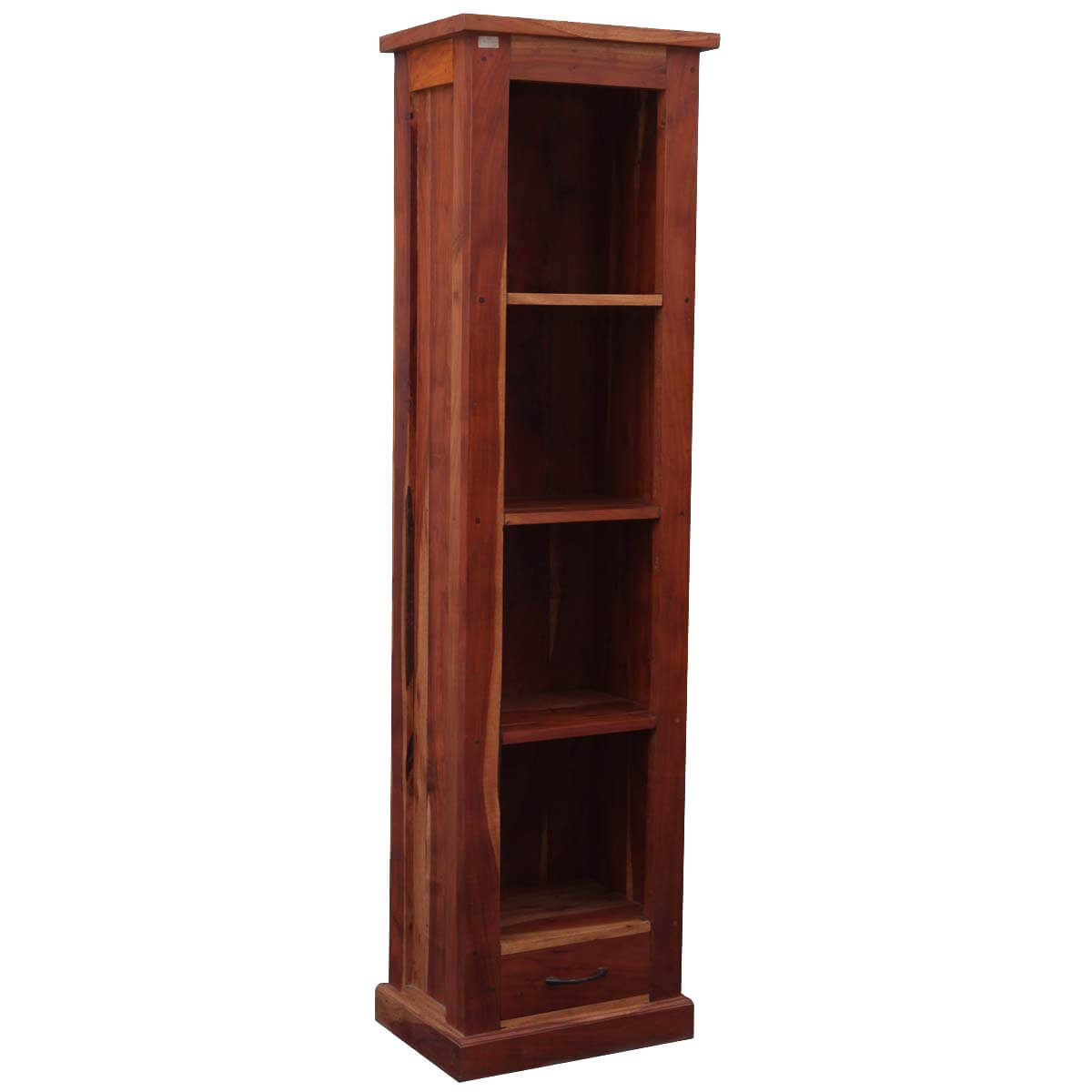 "Mission Solid Hardwood 4-Shelf 69"" Tower Open Cabinet Bookcase"