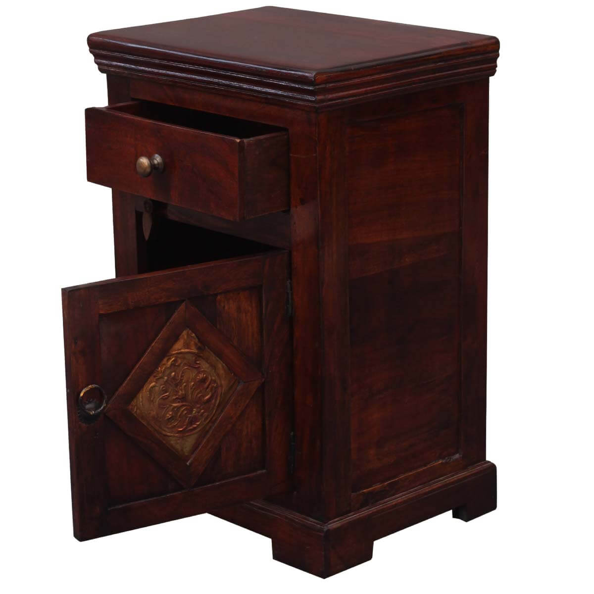 Medium handcrafted rustic solid wood bedside nightstand - Bedside table ...