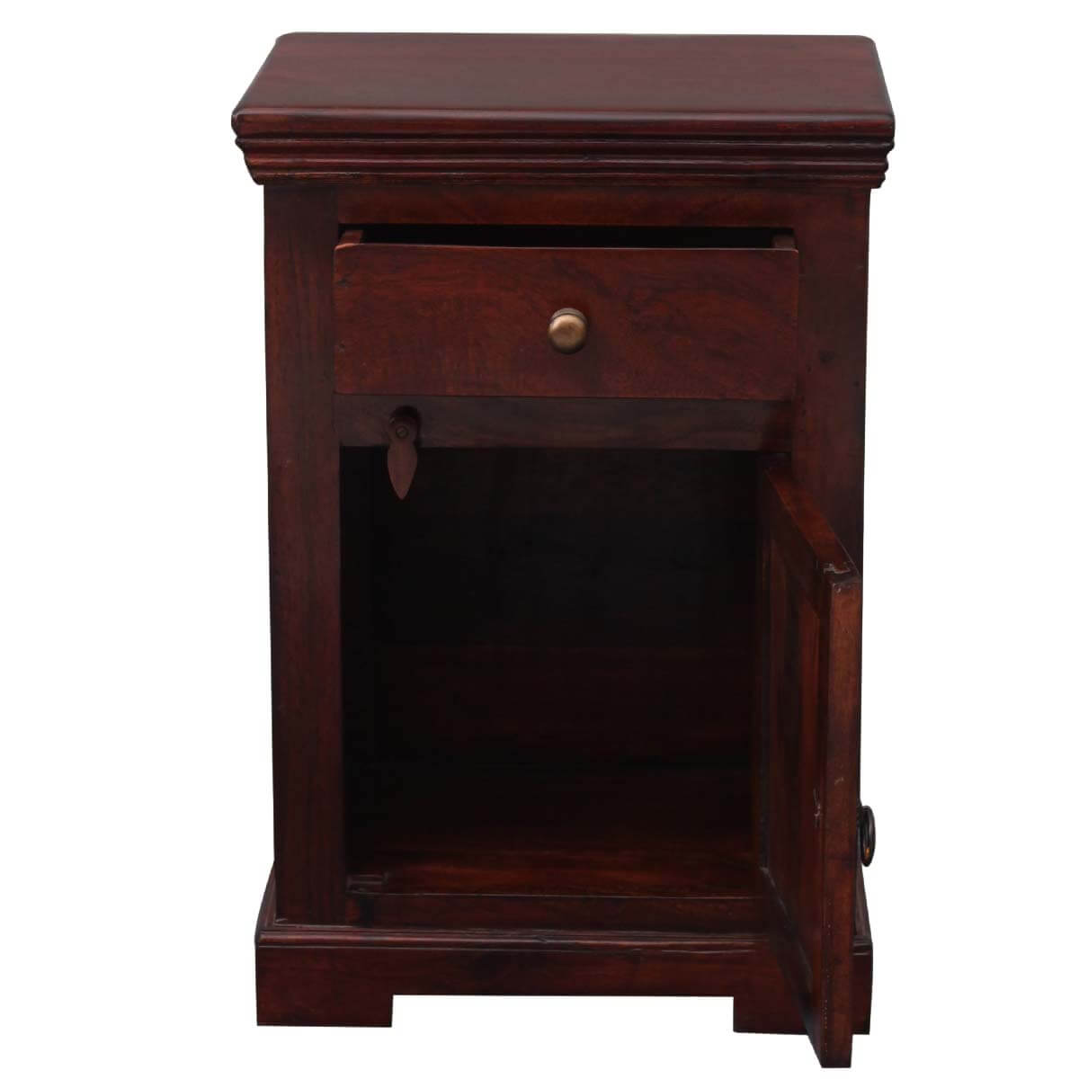 Wood Bedside Table : ... By Room Bed Room Night Stands Medium Rustic Solid Wood Bedside Table