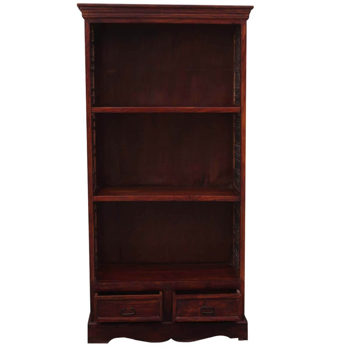 "71"" Tall Solid Wood & Wrought Iron 3 Shelf Display Single"
