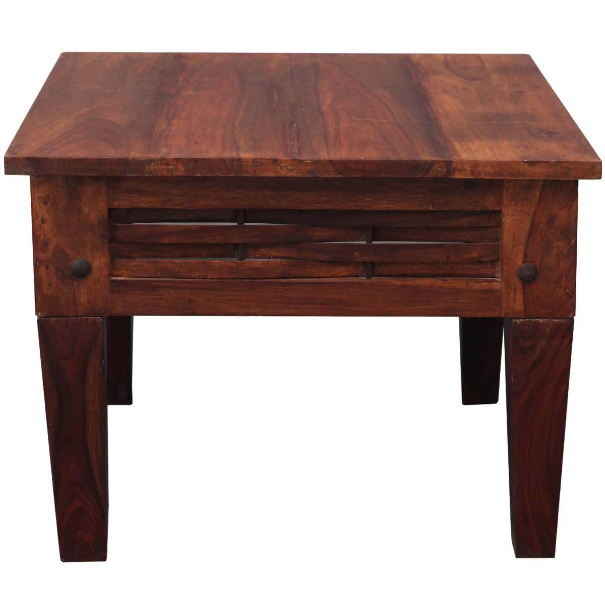 Small woven rustic side table in solid wood for Small wooden side table