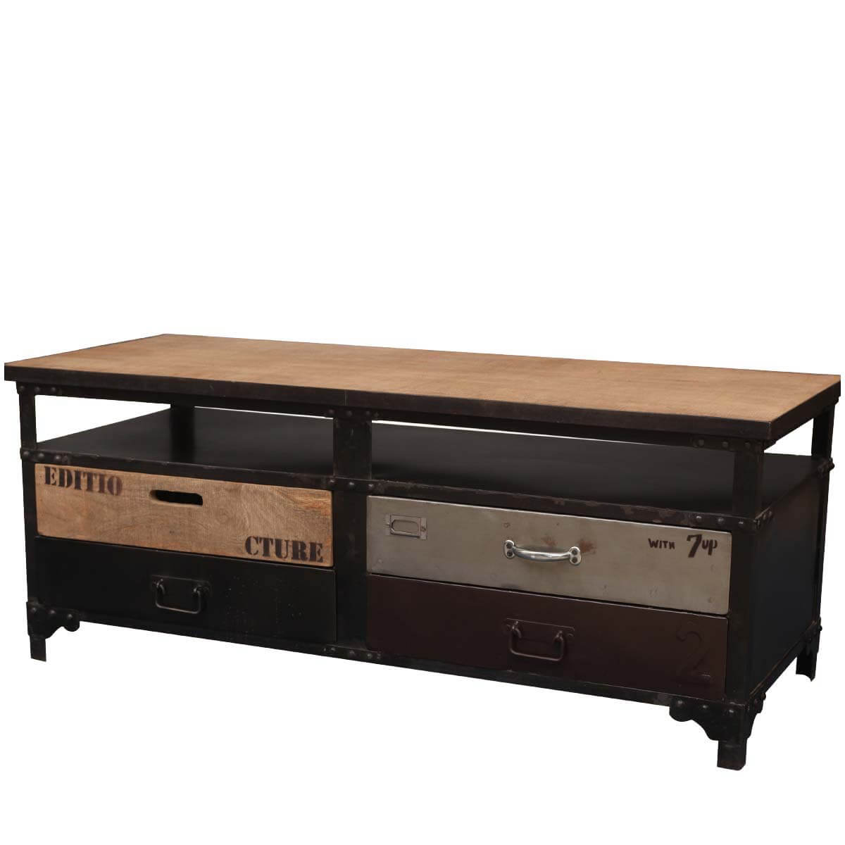 Wood Tv Stands Product ~ Solid wood iron drawer two tier tv stand media console