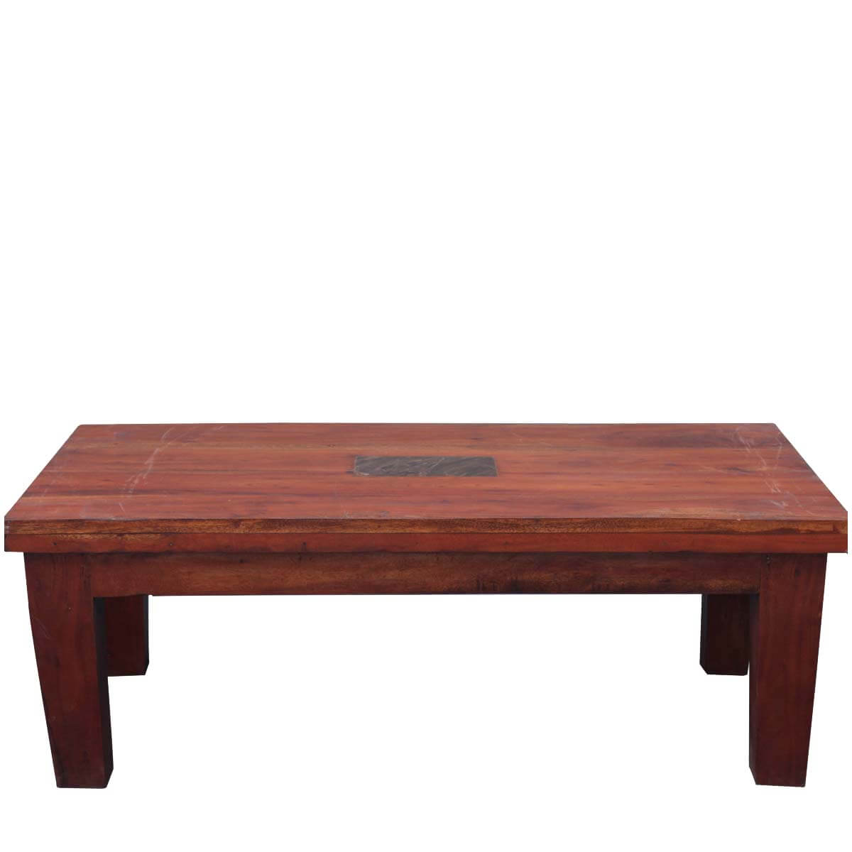 Solid Indian Rosewood 48 Distressed Coffee Table W Stone