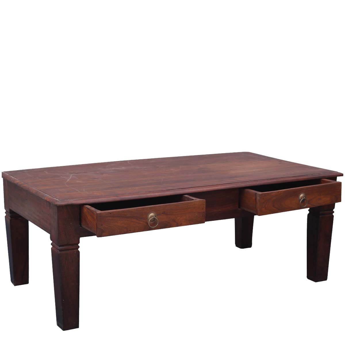 Solid Wood Rustic Coffee Table W Storage Drawers