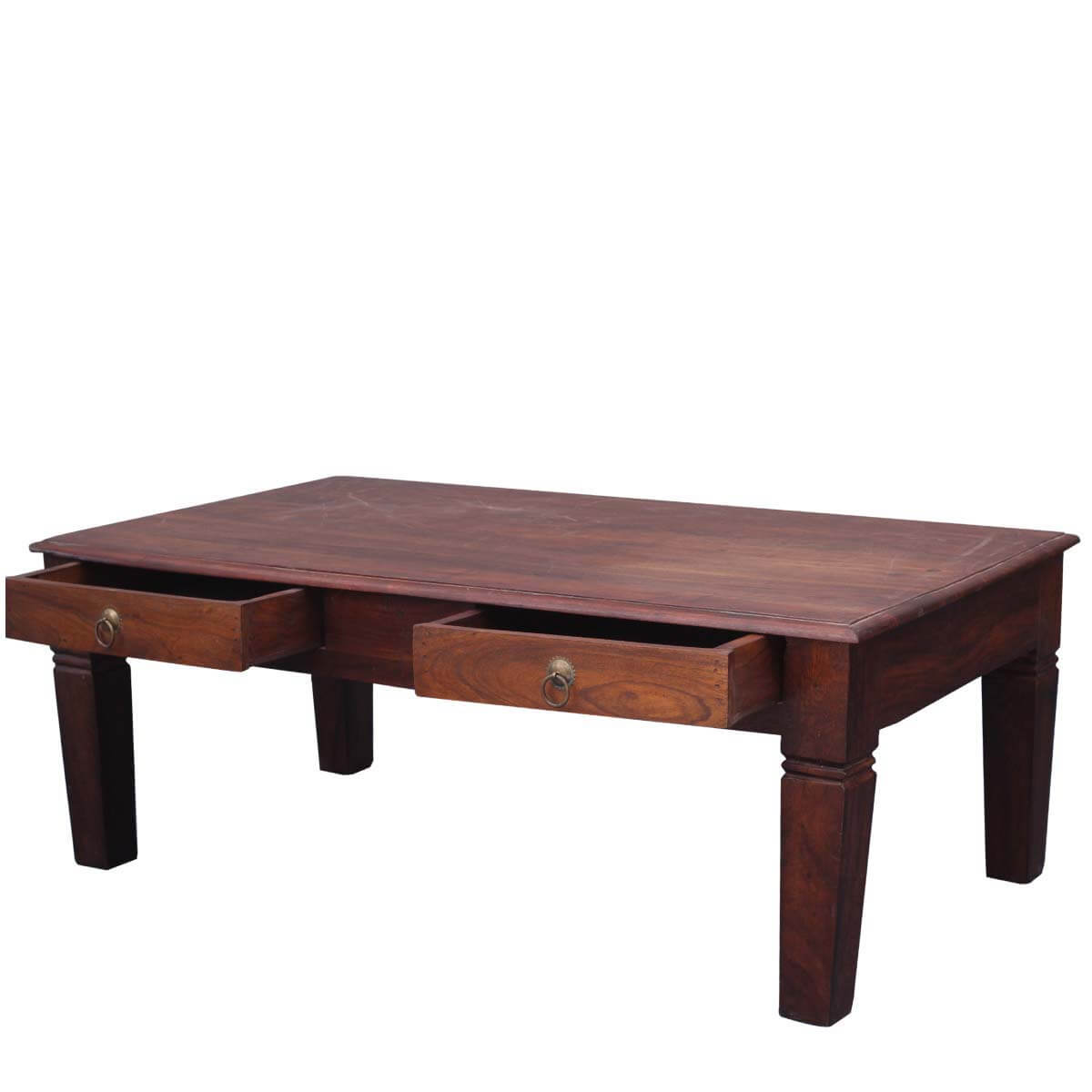 Solid wood rustic coffee table w storage drawers for Solid wood coffee table