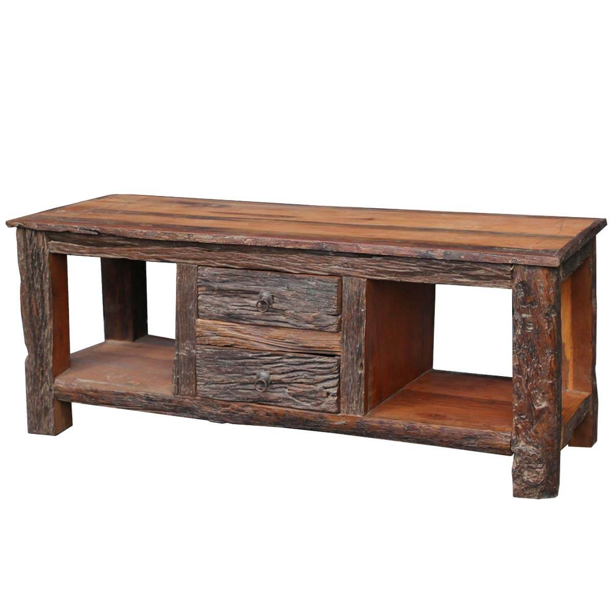 Rustic bark railraod reclaimed wood media stand console table