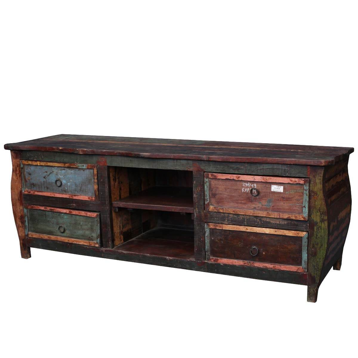 Wood Media Console Furniture ~ Reclaimed wood furniture rustic hepplewhite tv stand media