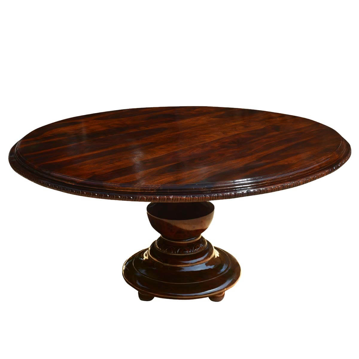Rustic solid wood pedestal round dining table for Round pedestal dining table