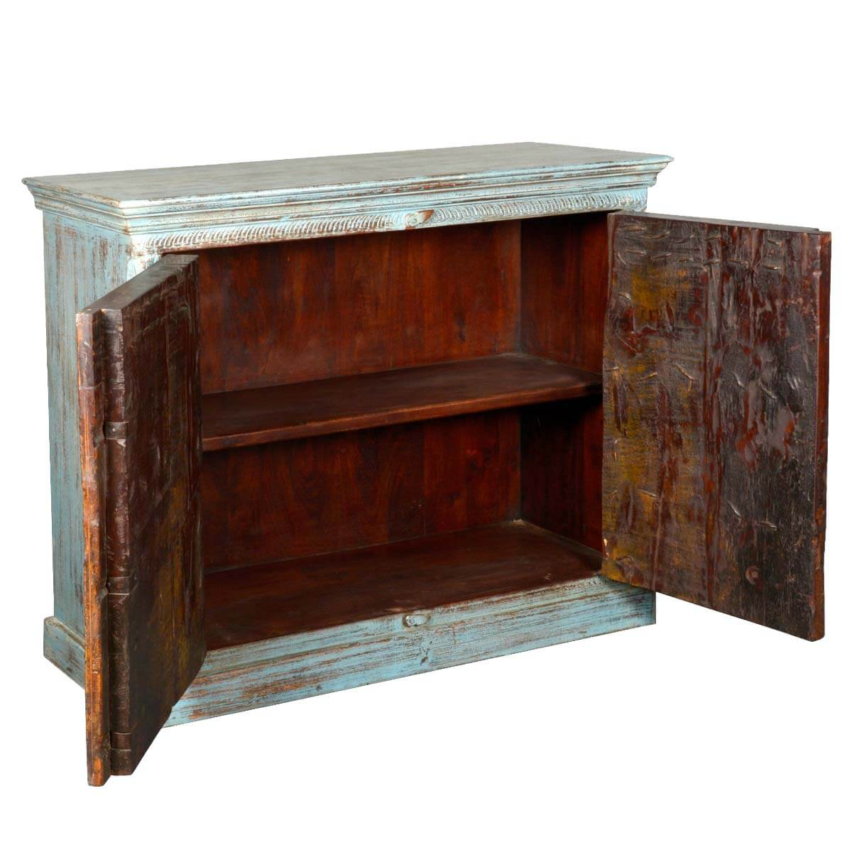 Rustic White Washed Reclaimed Wood Buffet Sideboard Cabinet