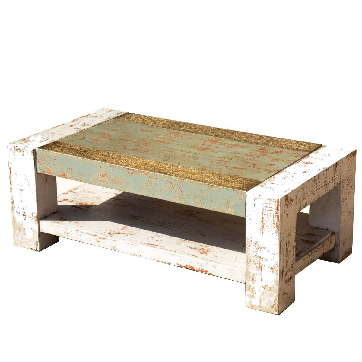 "Large Distressed Wood Coffee Table: Distressed 2-Tier Acacia Wood & Brass 43.5"" Long Coffee Table"