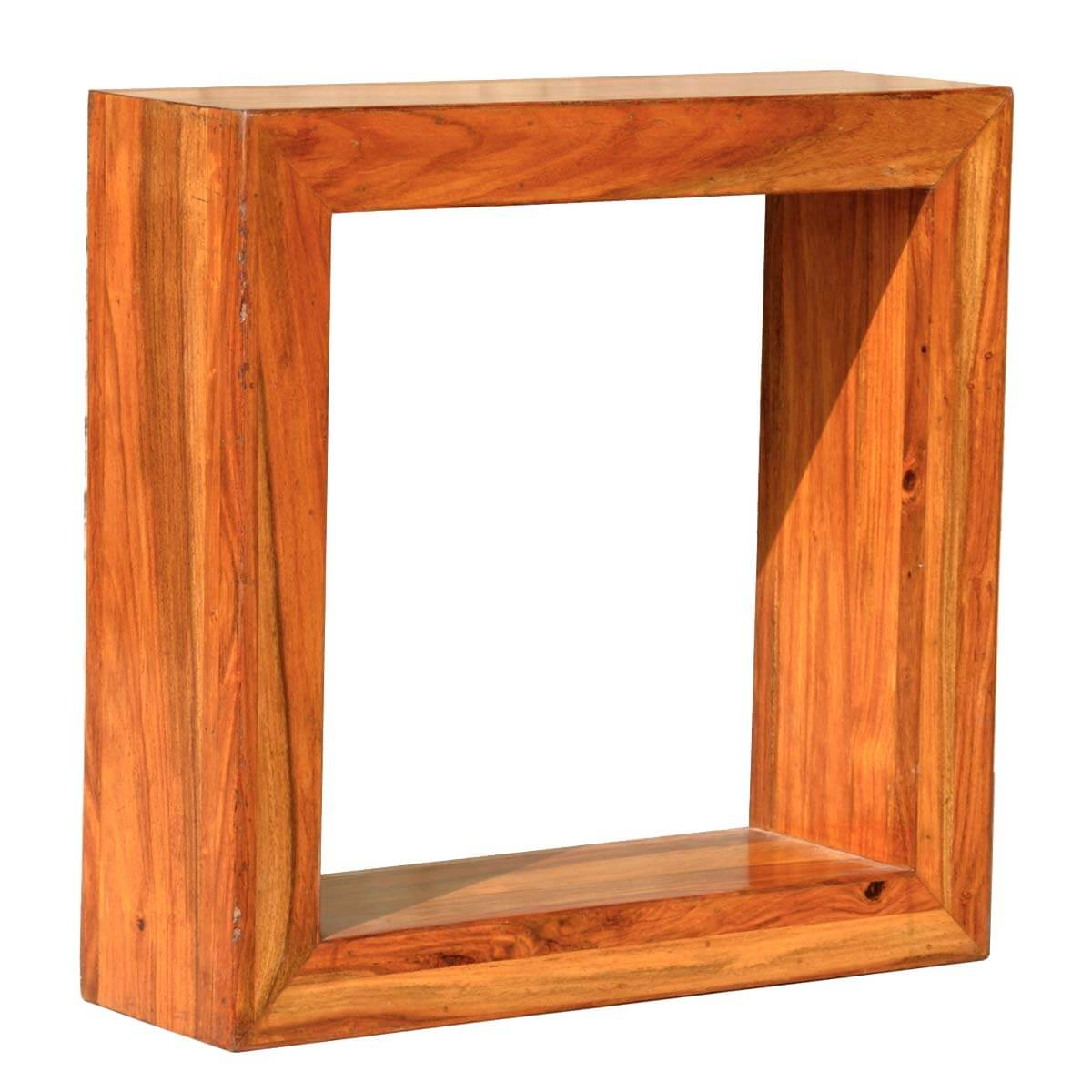 Quot solid wood open back display small side table
