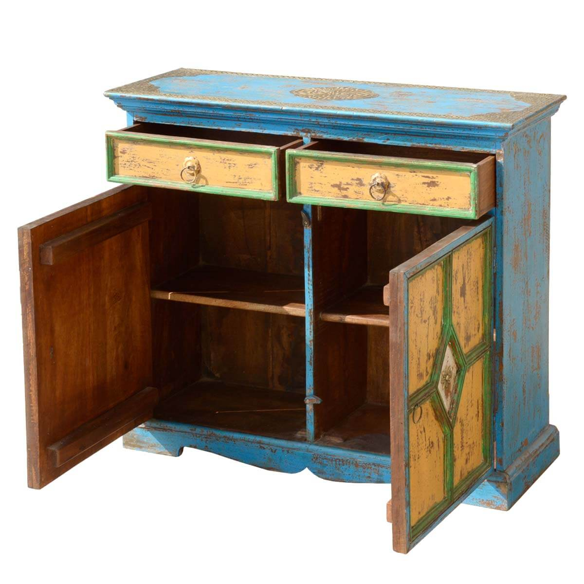 Home Blue Hand Painted Buffet Mango Wood Storage Sideboard Cabinet. Full resolution  portrait, nominally Width 1200 Height 1200 pixels, portrait with #65300D.